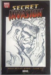 Secret Invasion #1 Convention Variant Hulk Head Sketch Signed Neil Vokes COA